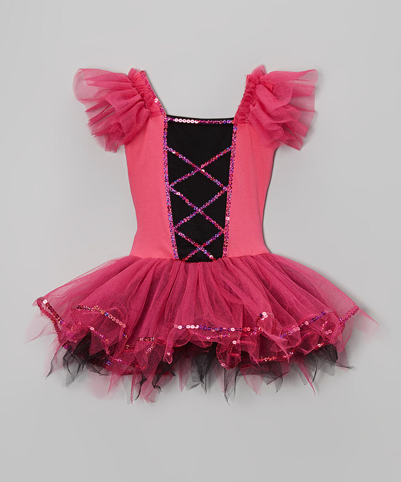 Hot Pink Cross Lines Ballet Dress