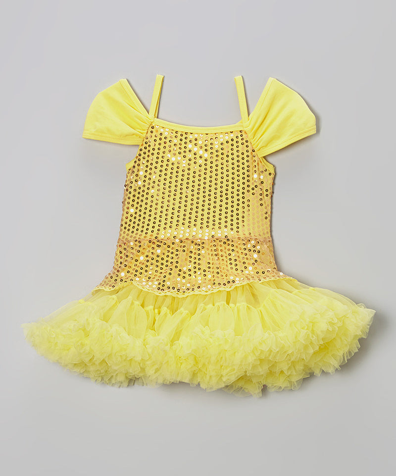 Yellow Sequin Princess Belle Dress