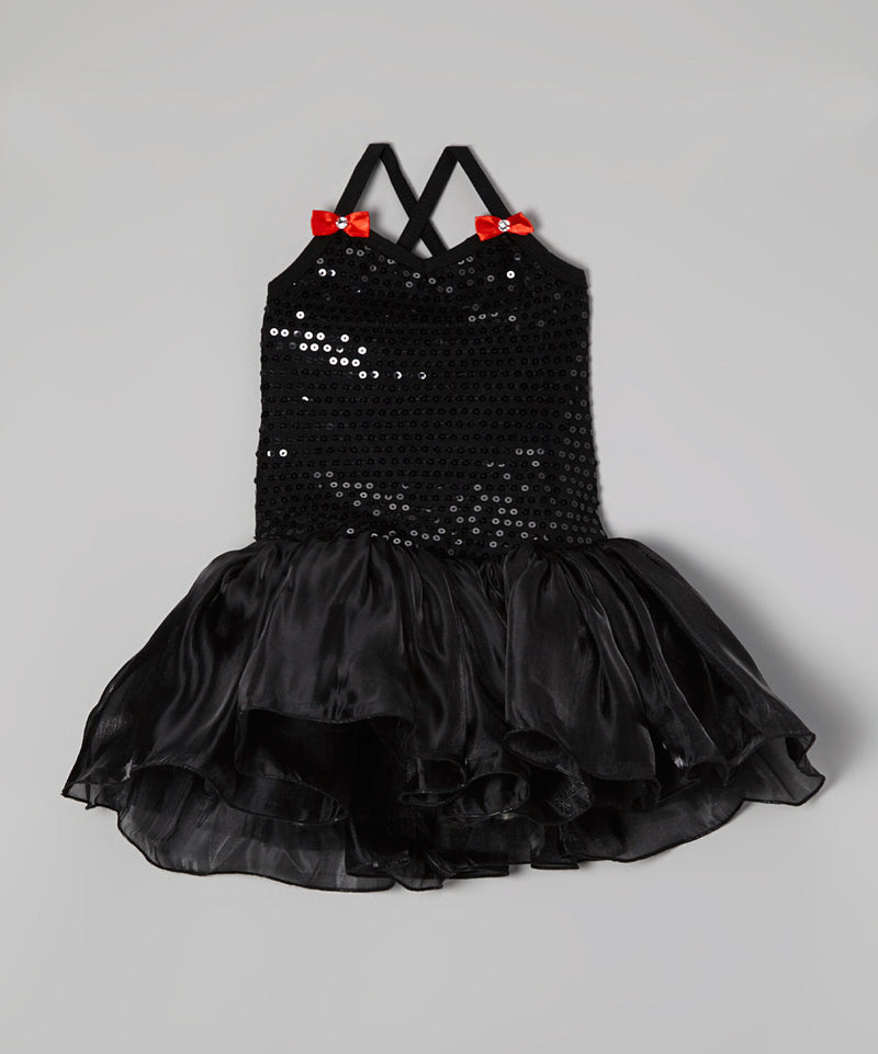 Black Sequin Organdy Ballet Dress