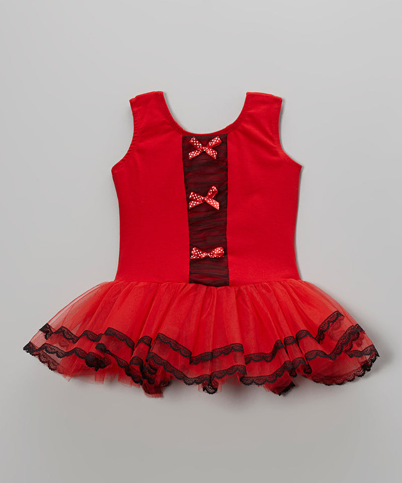 Red Bows Front Frills Ballet Dress