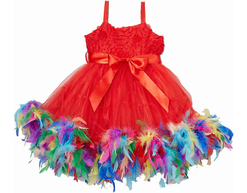 Rainbow Feather Red Rose Dress