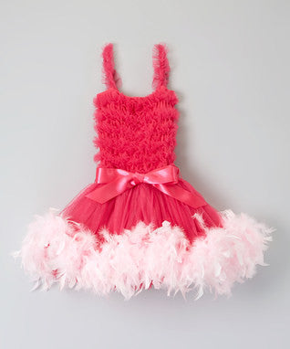 Hot Pink Ruffle Feather Dress