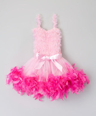 Pink Ruffle Feather Dress