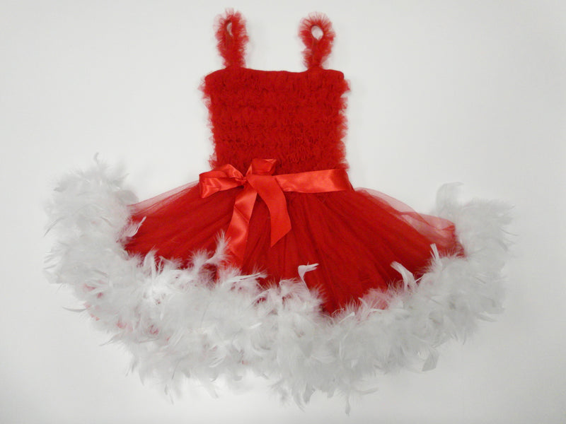 Red Ruffle Feather Dress