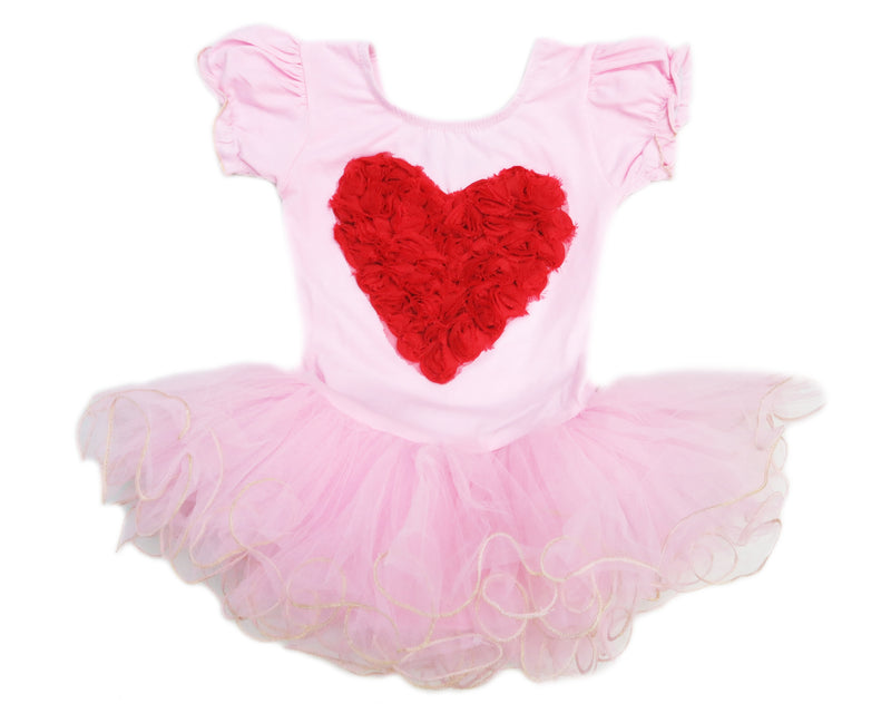 Red Heart Pink Gold Wave Short Sleeve Ballet Dress