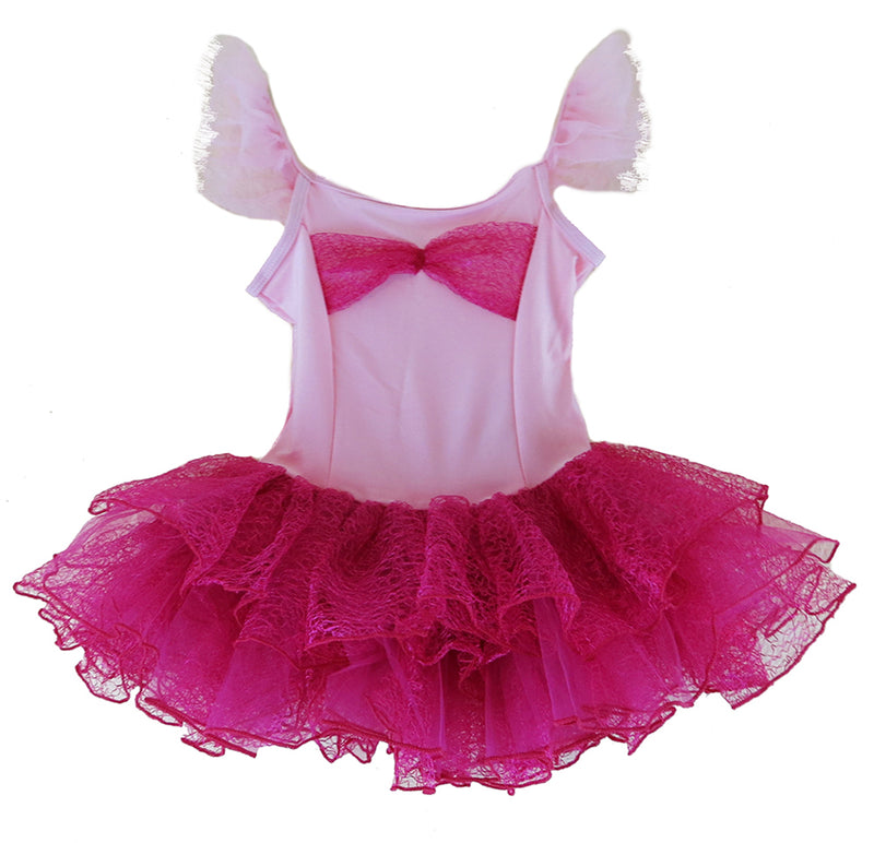 Hot Pink Lace Bow Lycra Ballet Dress