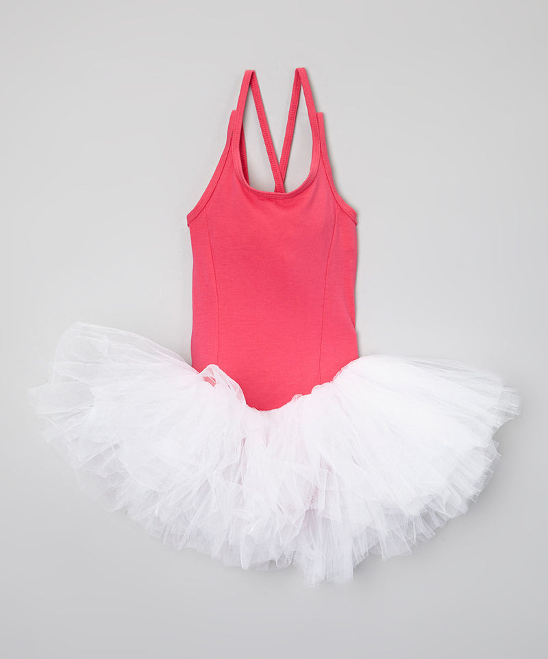 Hot Pink Leotard Attached White Tutu Ballet Dress