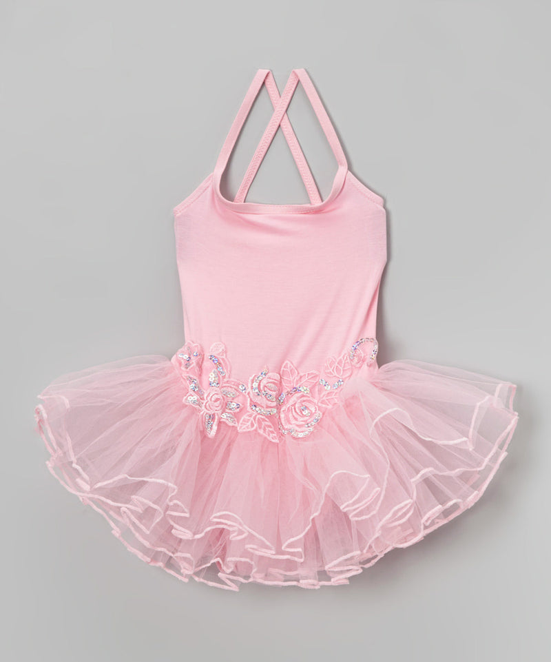 Pink Flower Spaghetti Strap Ballet Dress
