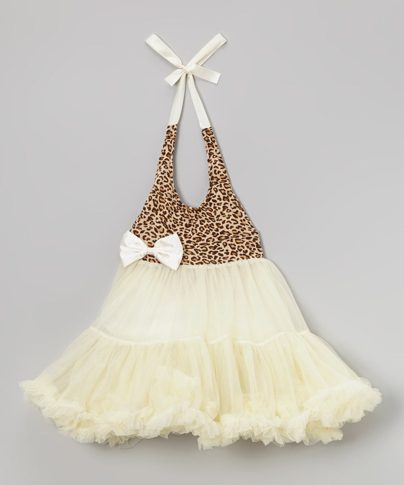 Cheetah Ivory Chiffon Petti Dress