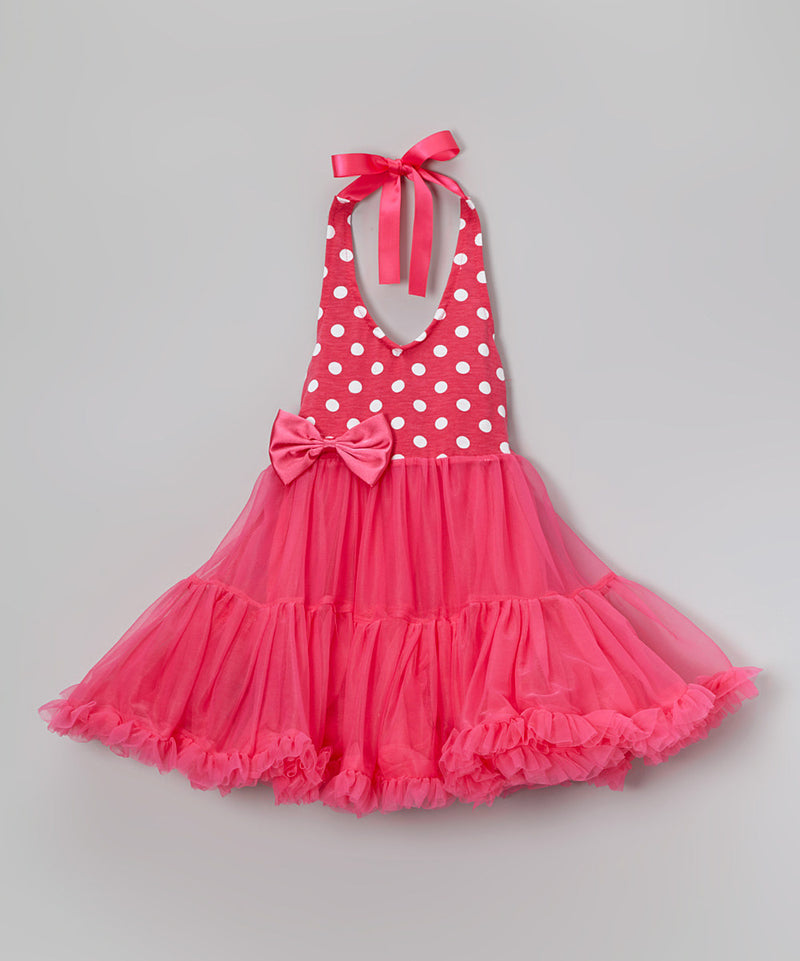Hot Pink With White Dot Chiffon Petti Dress