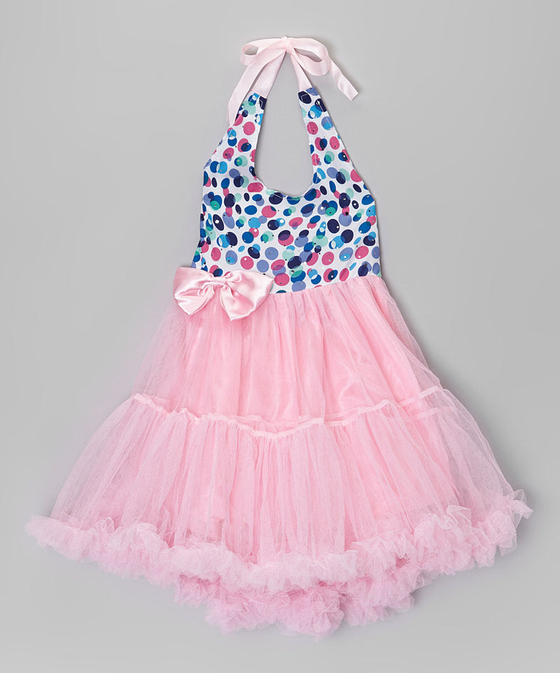 Pink Polkadots Halter Dress