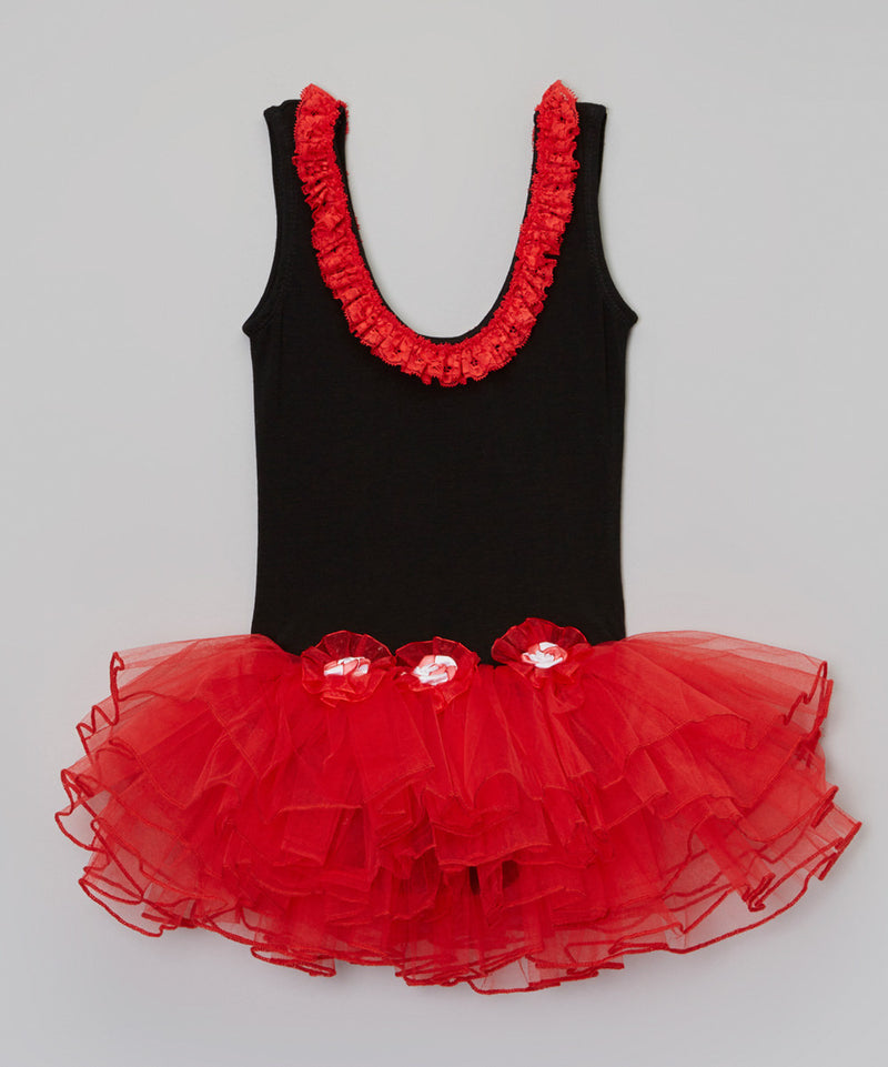 Black/Red 3 Flower Ballet Dress