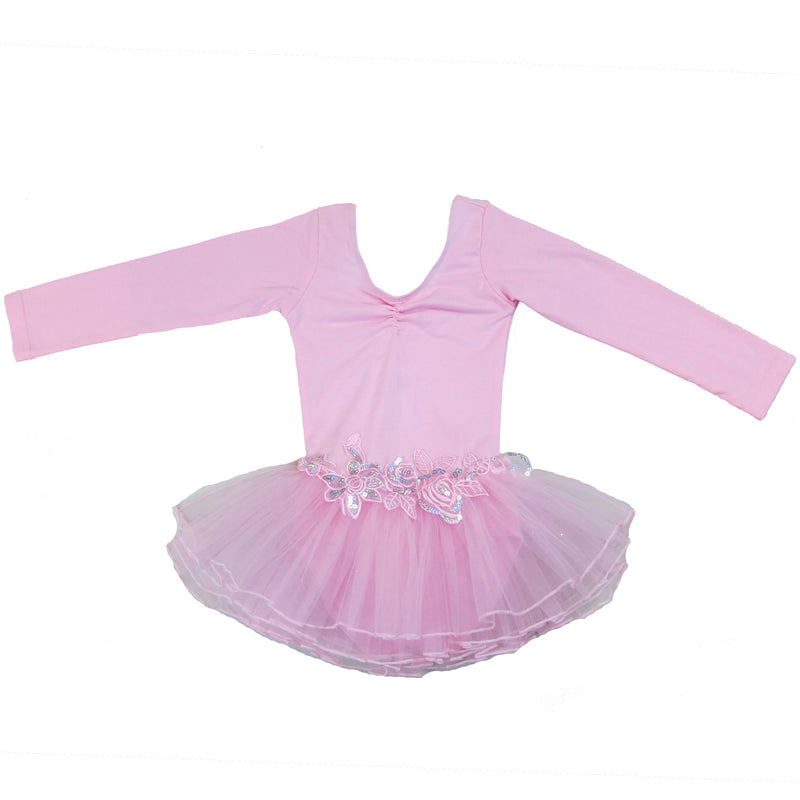 Baby Pink Glitter Rose Long Sleeve Ballet Dress
