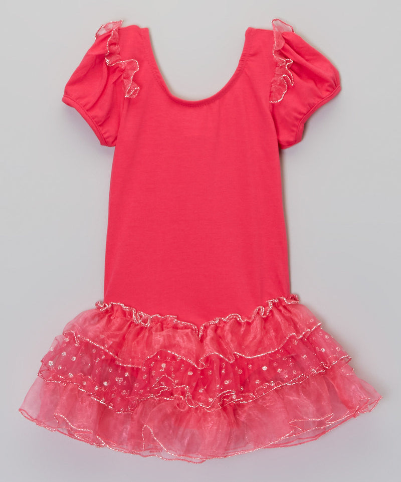 Hot Pink Short Sleeve Ballet Dress