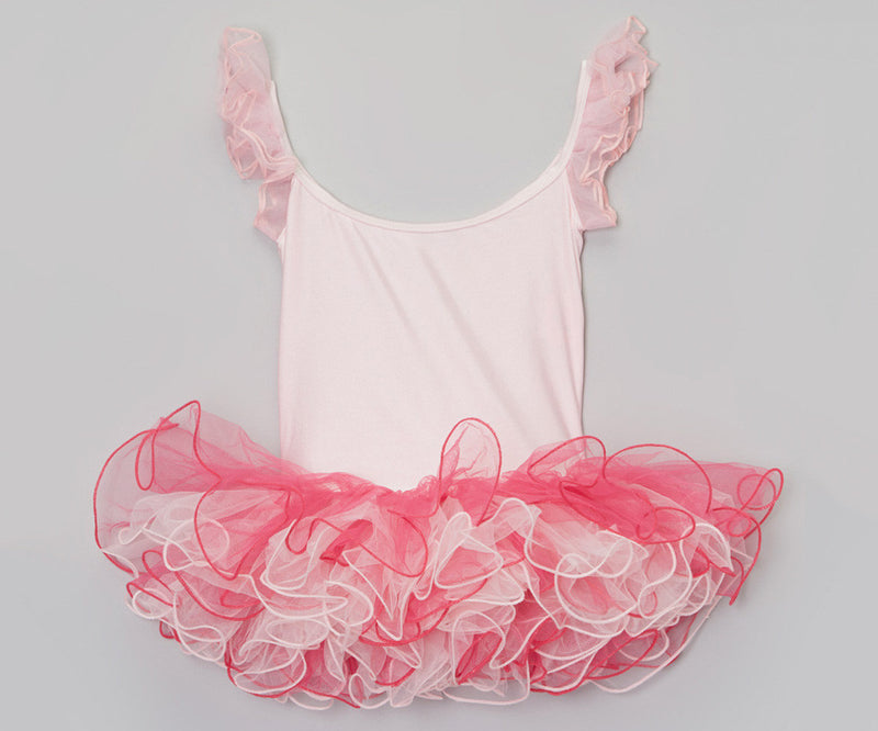 Pink/Fuchsia Wave Trim Lycra Ballet Dress