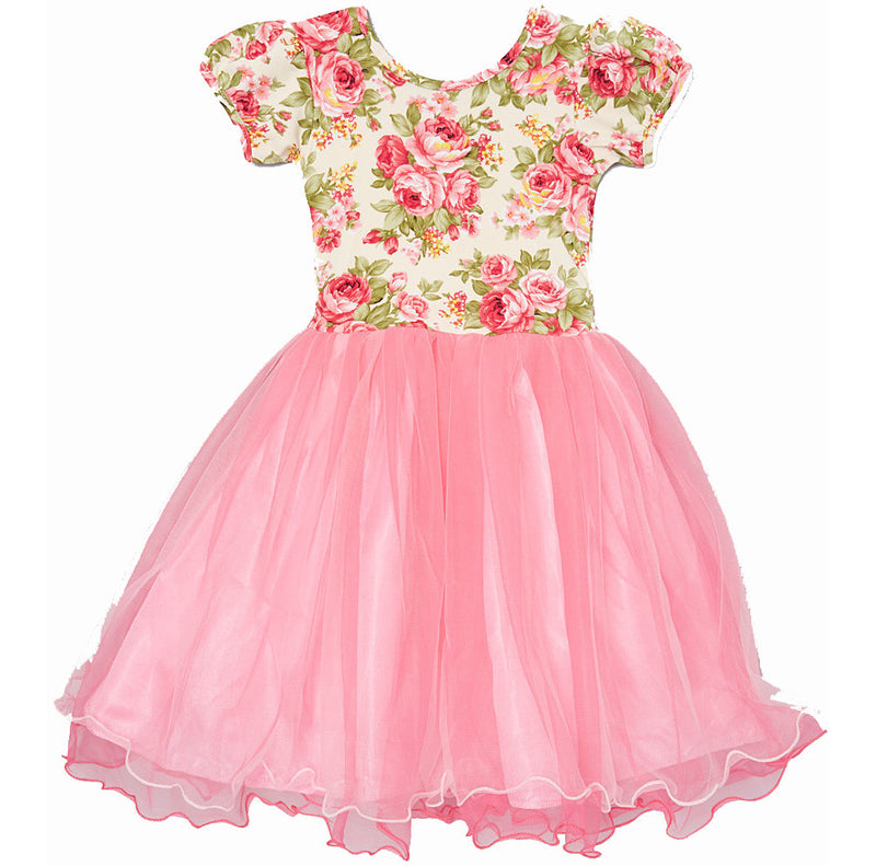 Pink/Hot Pink Flower Top Dress