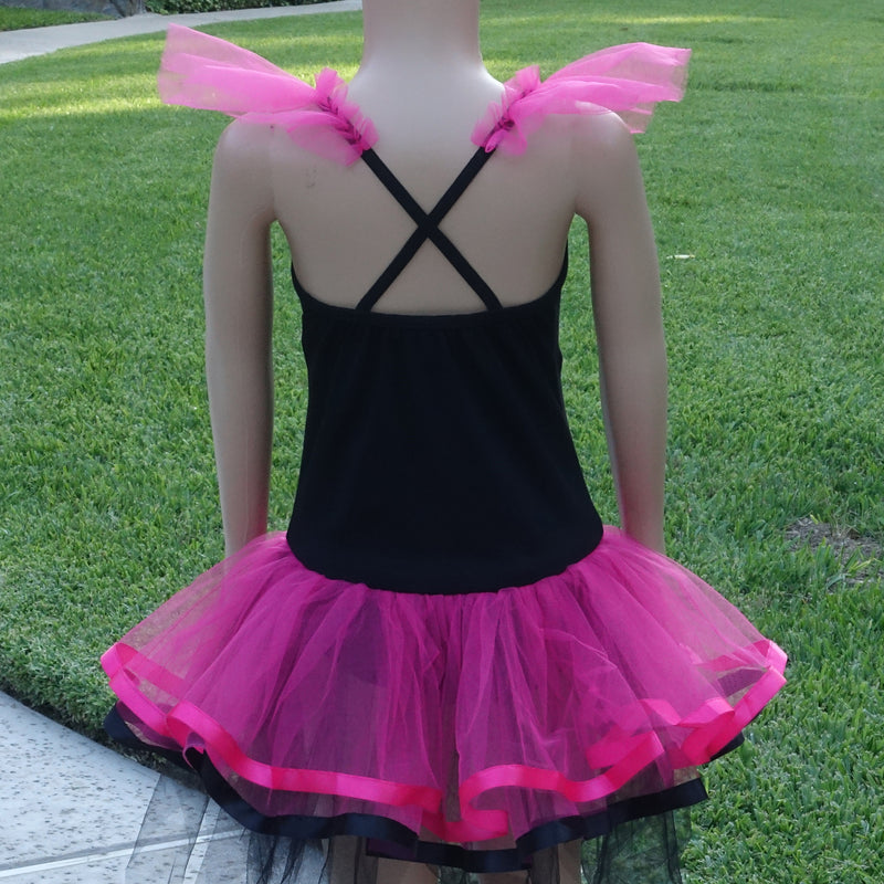 Black/Hot Pink Cat Ballet Dress