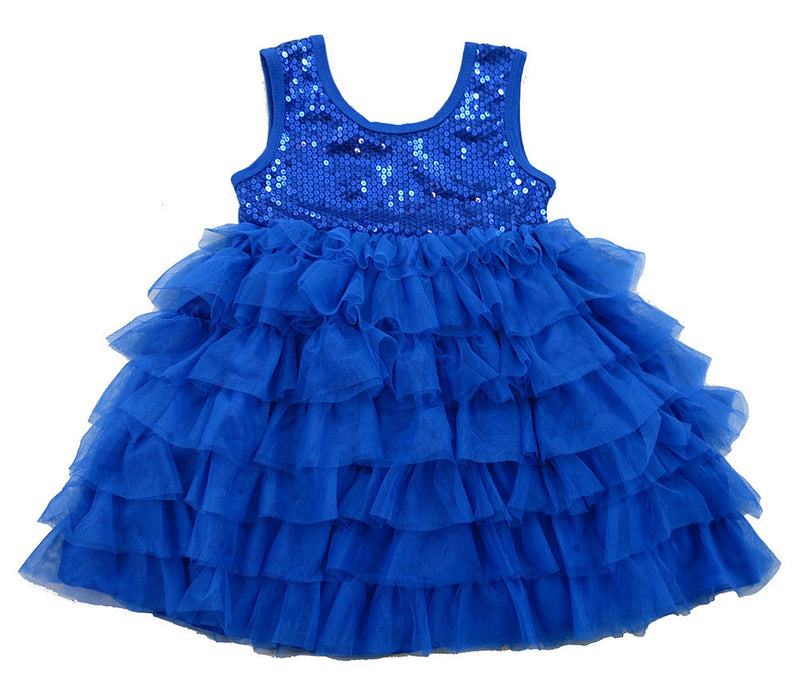 Royal Blue Sequin Tank-Top & Layer Skirt Dress