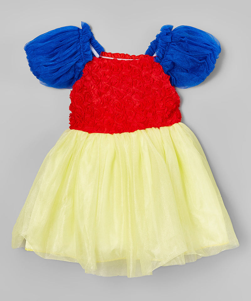 Blue-Red-Yellow Rose Lace Princess Dress