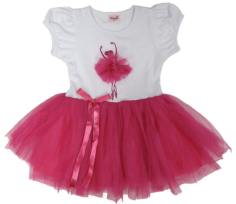 White/Hot Pink 3-D Ballerina Dress