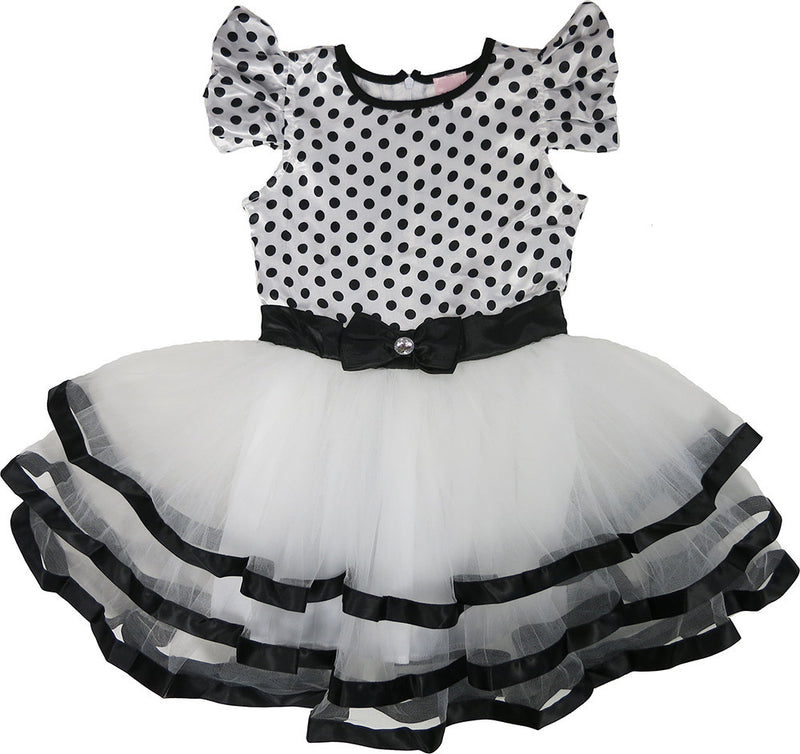 Black & White Polka Dot Satin Dress