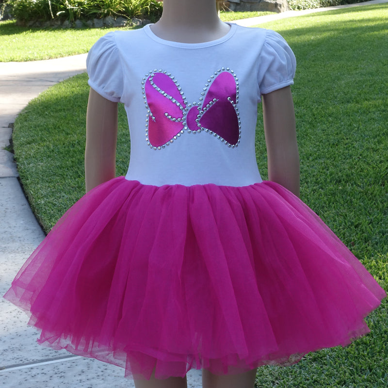 White/Hot Pink Minnie Bow Dress