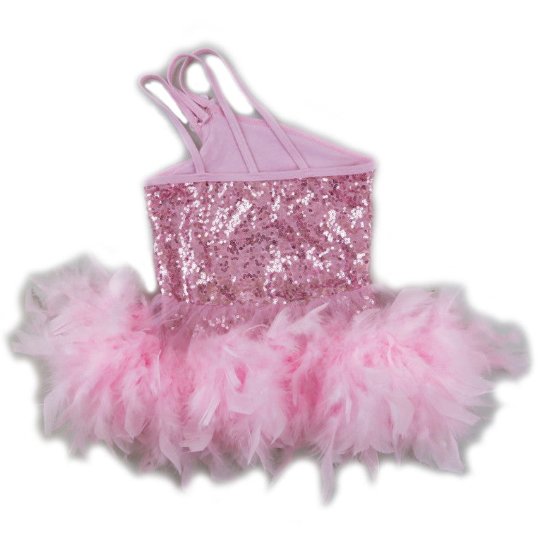 Pink Sequins & Feather Off Shoulder Ballet Dress