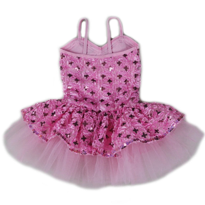 Pink Sequins Spaghetti Ballet Dress