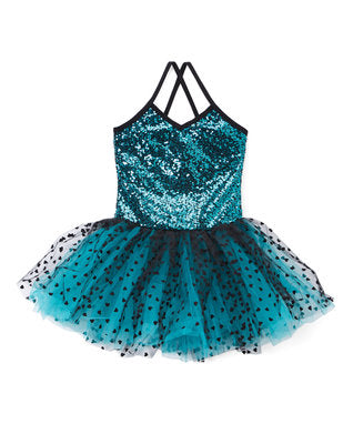 Teal/Black Sequins & Hearts Ballet Dress