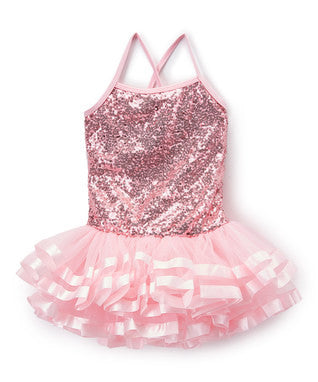Pink Sequins Cross Back Ribbon Ballet Dress