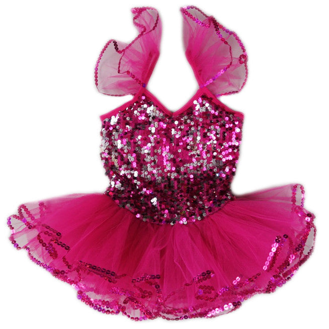 Hot Pink Sequins Ballet Dress