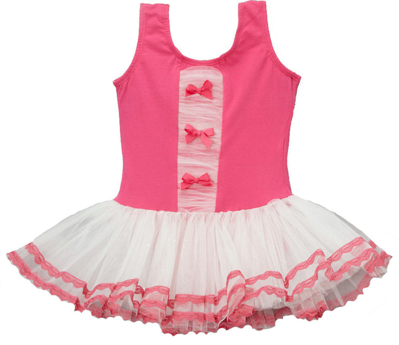 Hot Pink/White 3 Bow Ballet  Dress