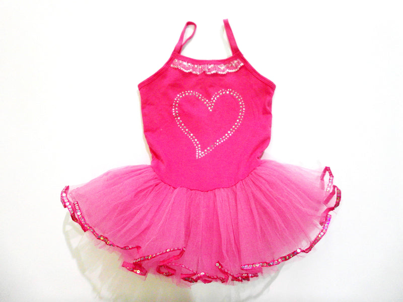 Hot Pink Rhinestone Heart Ballet  Dress