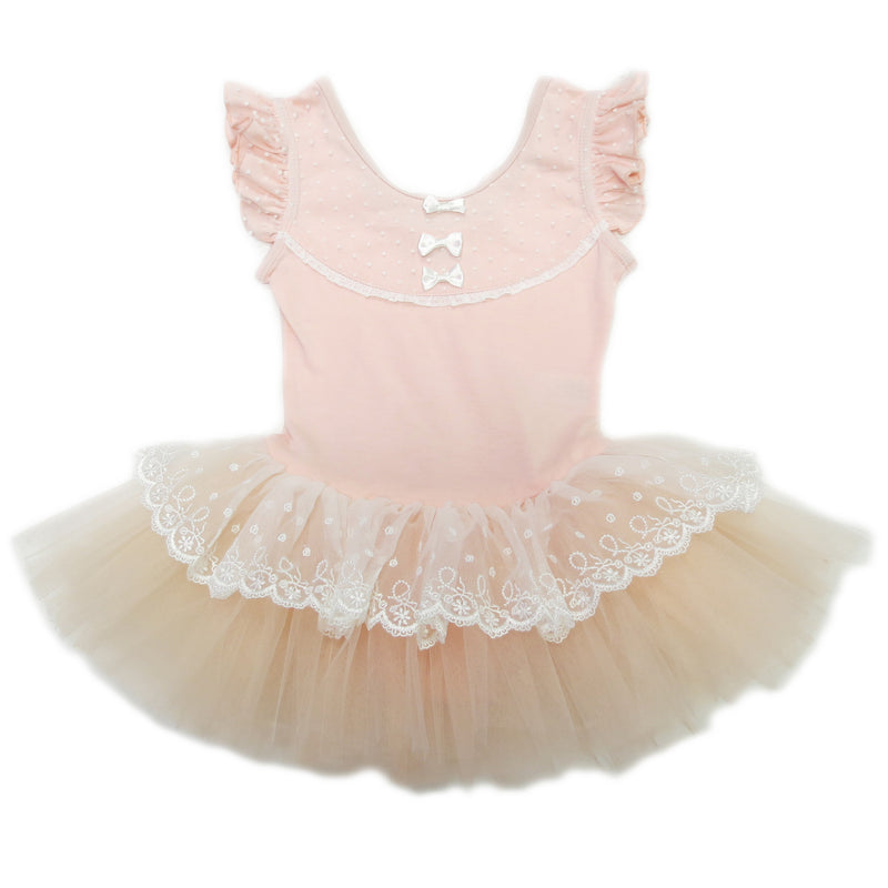 Peach Lace & Bow Ballet Dress