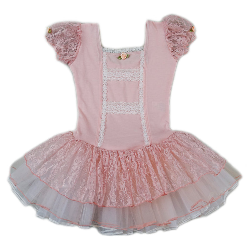 Peach Lace Short-Sleeve Ballet Dress
