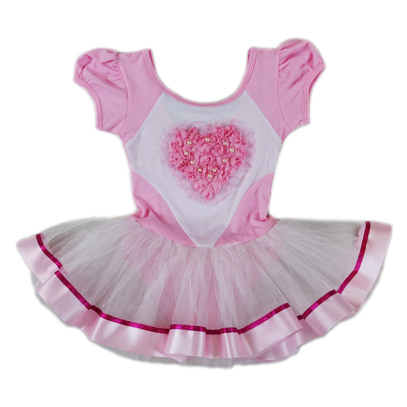 Pink & White Rose Heart Pearl Short-Sleeve Ballet Dress