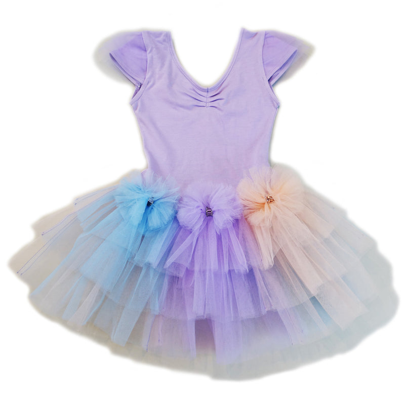 3 Color Bows & Tutu Purple Ballet Dress