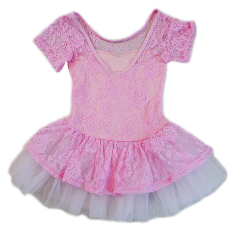 Pink Lace Short Sleeve Ballet Dress
