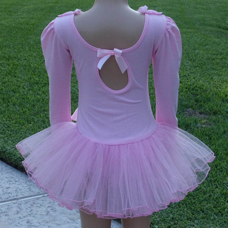 Pink Lace & Bow Long-Sleeve Ballet Dress