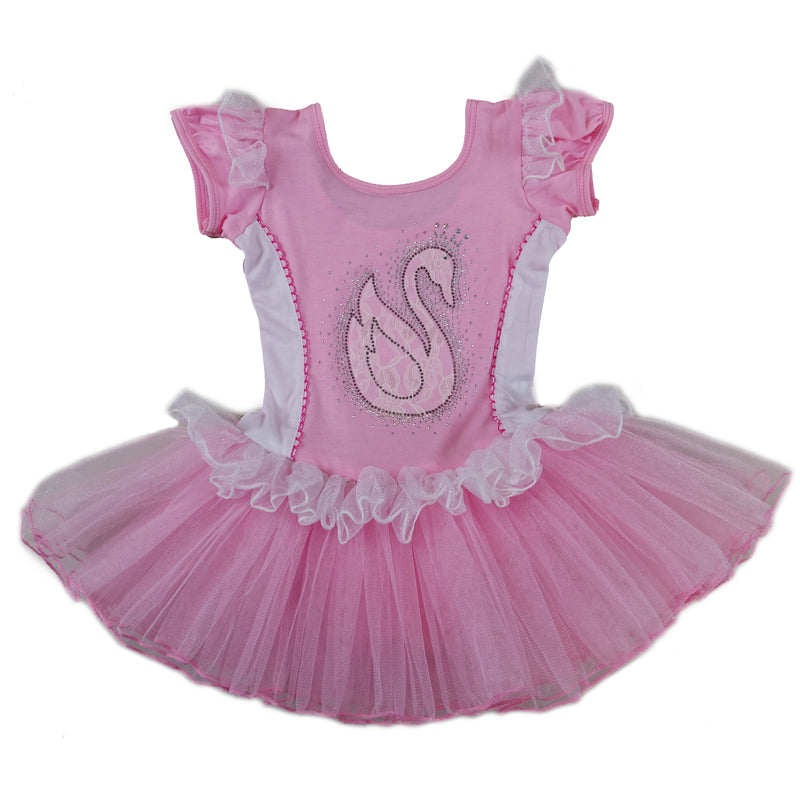 Pink & White Swan Short-Sleeve Ballet Dress