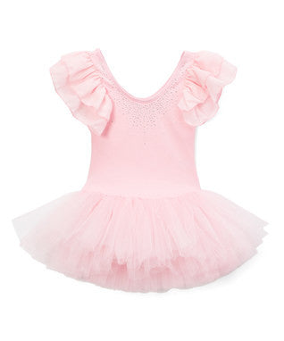 Pink Chiffon Cap-Sleeve Ballet Dress