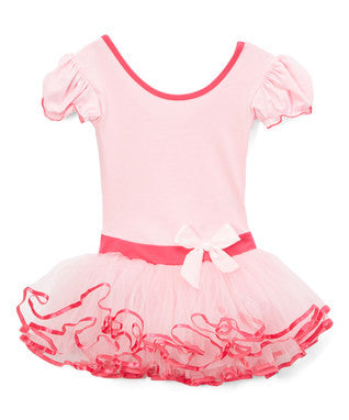 Pink & Hot Pink Short-Sleeve Ballet Dress
