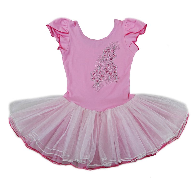 Pink & White Sequins Cap-Sleeve Ballet Dress