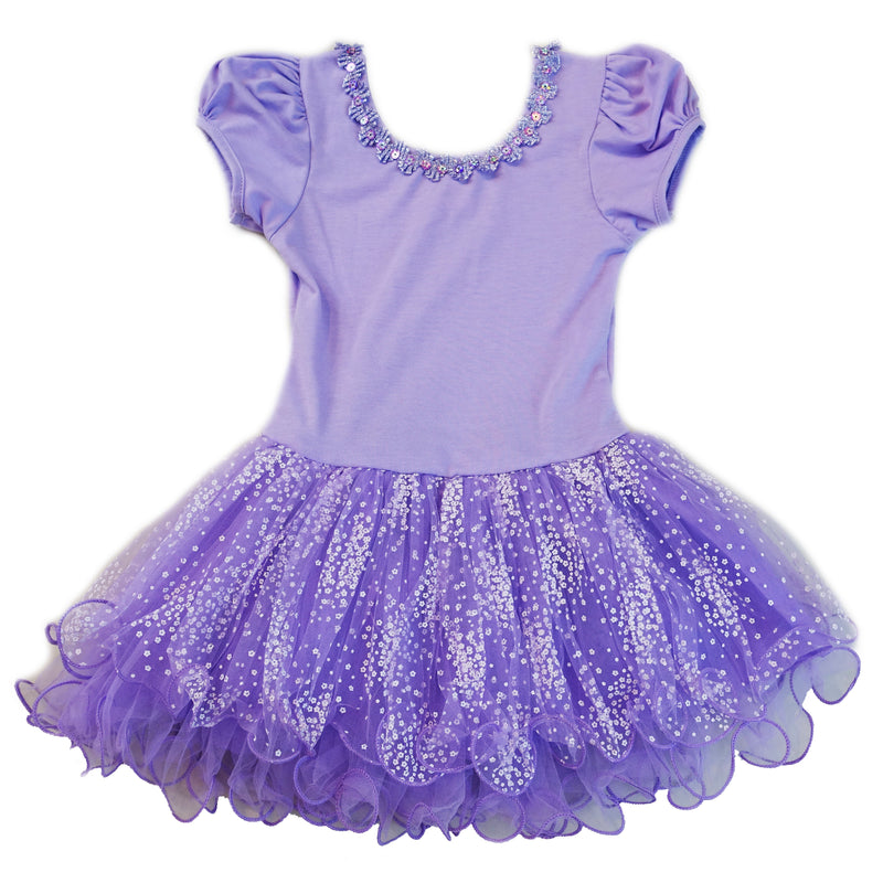 Purple Stars Tutu Short Sleeve Ballet Dress