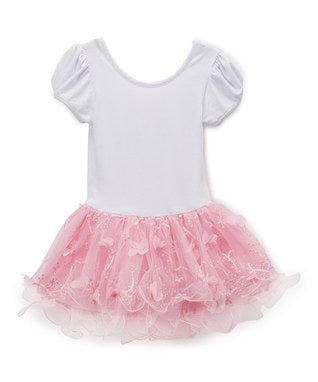 White & Pink 3-D Flower Tutu Short Sleeve Ballet Dress