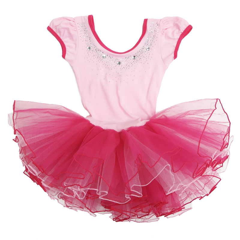 Pink & Hot Pink Rhinestone Short-Sleeve Ballet Dress