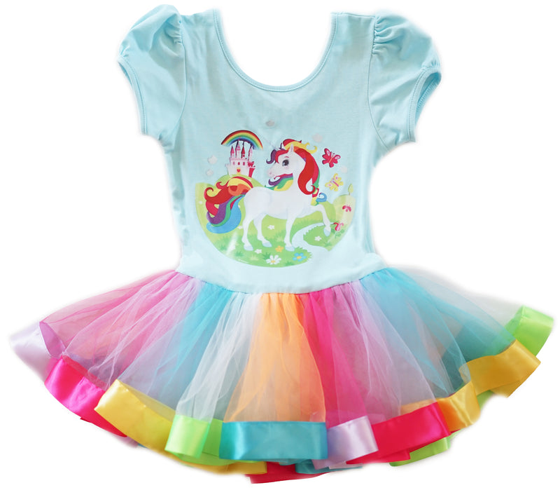 Blue Unicorn Rainbow Ballet Dress