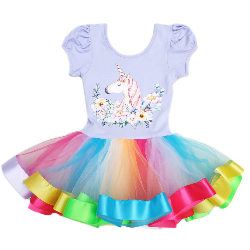 Lavender Unicorn Rainbow Ballet Dress
