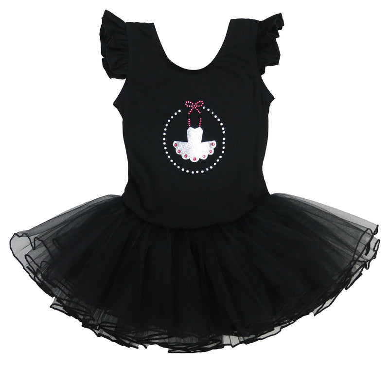 Black Rhinestone Glitter Ballet Dress