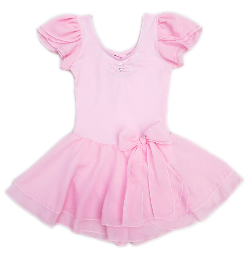 Pink Chiffon Sleeve Bow Skirted  Ballet Dress